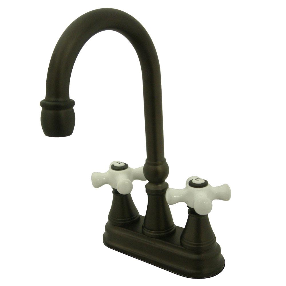 Kingston Brass Classic 2-Handle Bar Faucet with Porcelain Handles ...