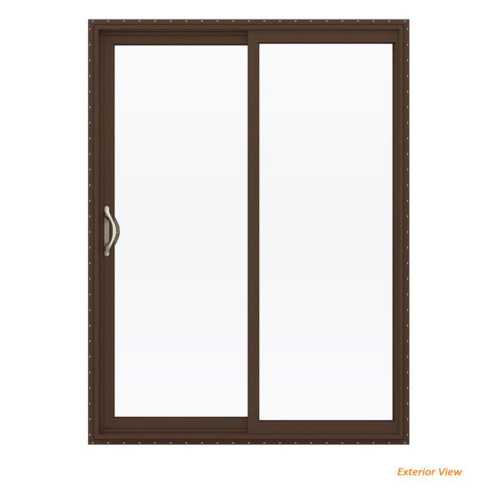60 in. x 80 in. V-2500 Brown Painted Vinyl Left-Hand Full Lite Sliding Patio Door w/White Interior