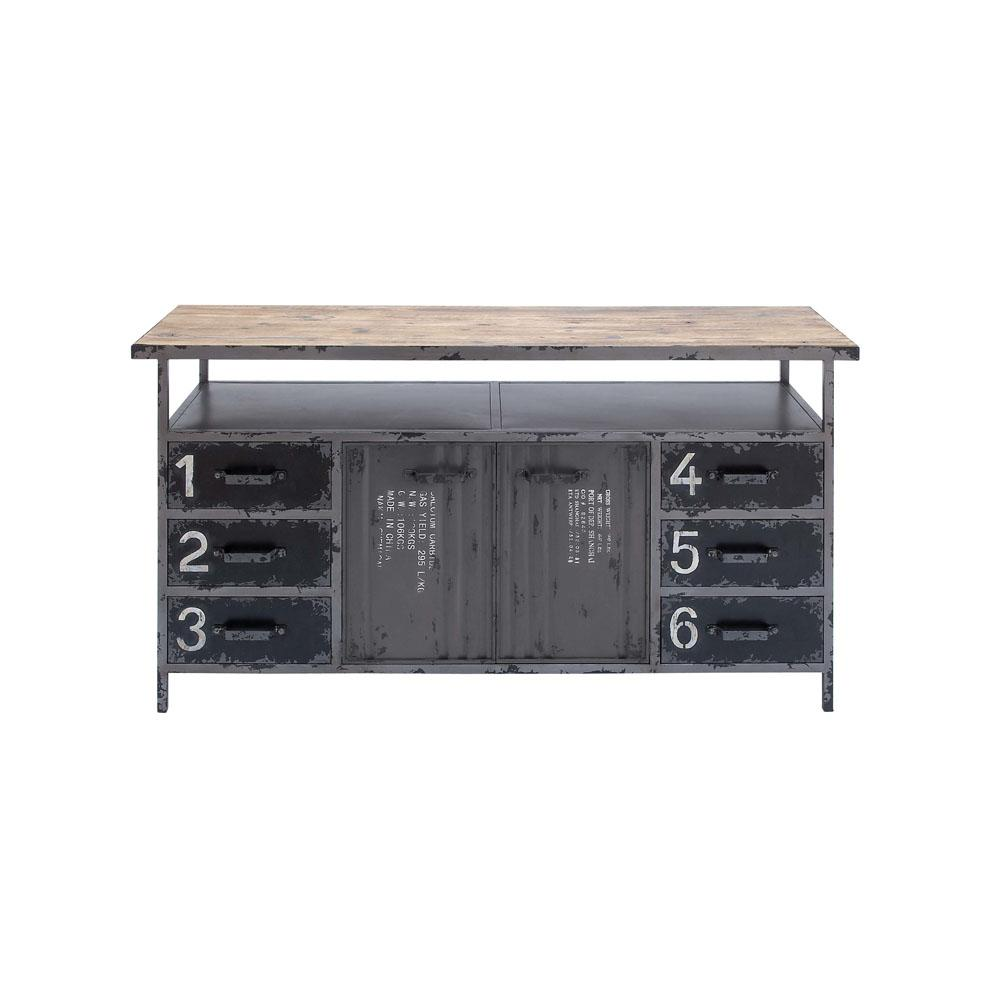 Sideboard Industrial gray industrial metal and wood utility buffet cabinet 55484 the