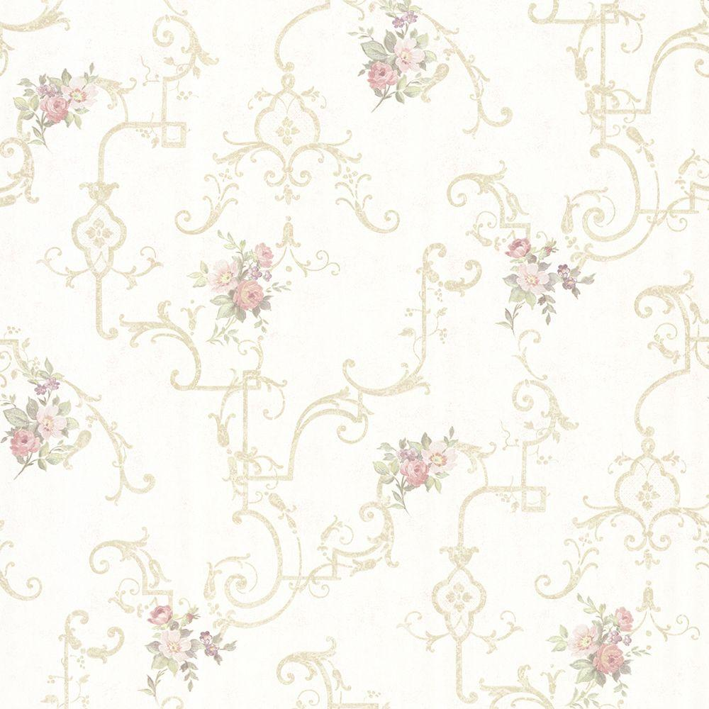 Mirage Lori Light Green Floral Trellis Wallpaper 992 68308 The