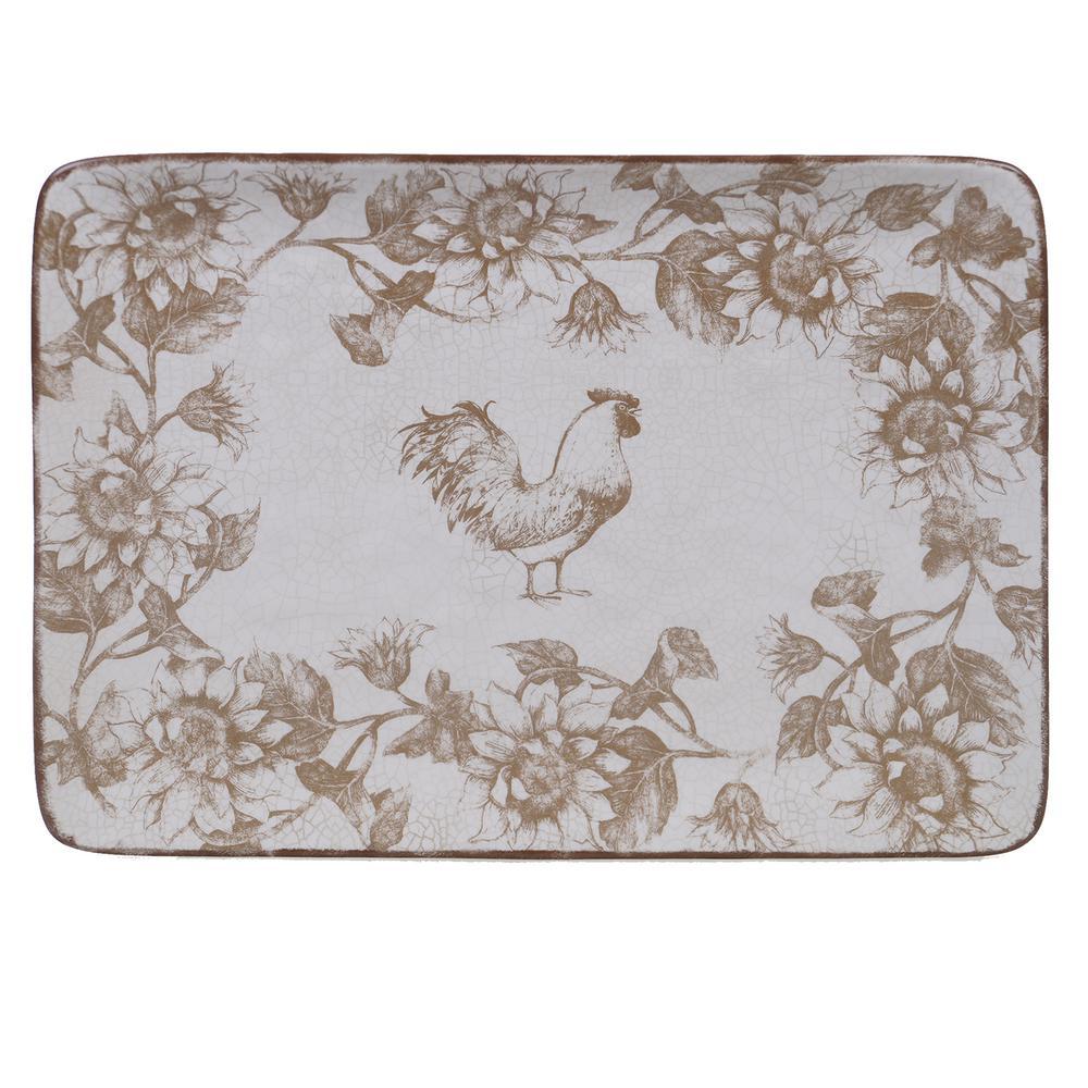 Toile Rooster Ceramic Rectangular Platter