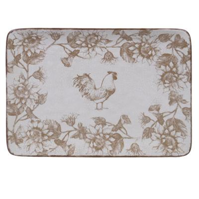Toile Rooster Ceramic Rectangular Platter