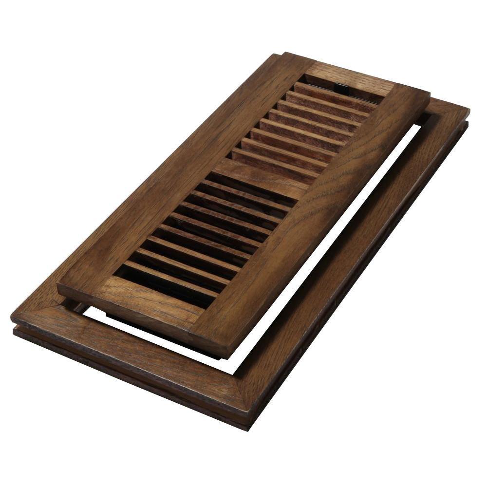 4 in. x 12 in. Wood Natural Hickory Saddle Flush Mount Floor Register