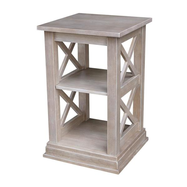 Hampton Weathered Taupe Gray Accent Table