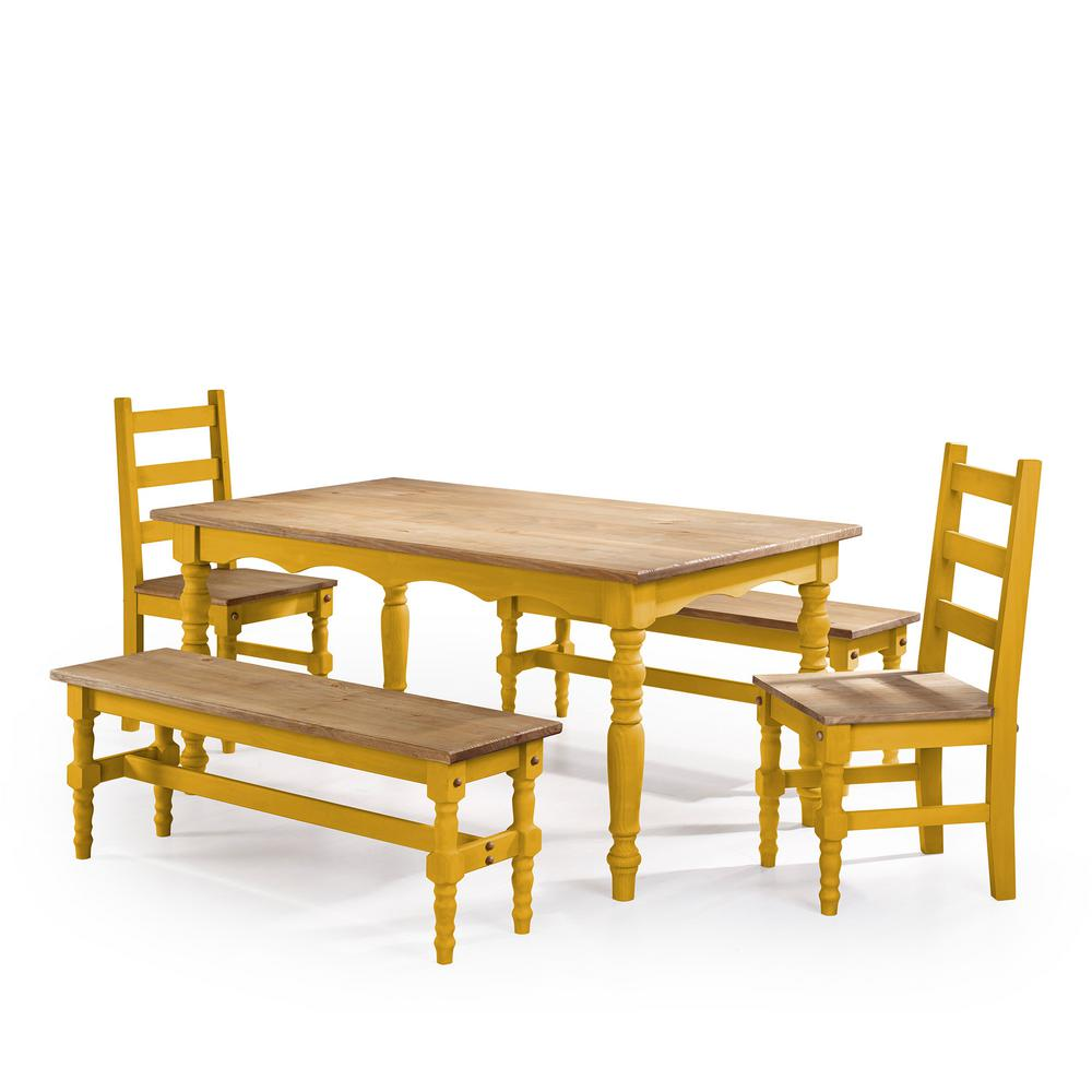 Manhattan Comfort Jay 5 Piece Yellow Wash Solid Wood Dining Set With  2 Benches