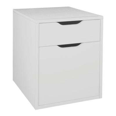 Brasas White Wood Grain Freestanding Box-File Pedestal File Cabinet with No Tools Assembly