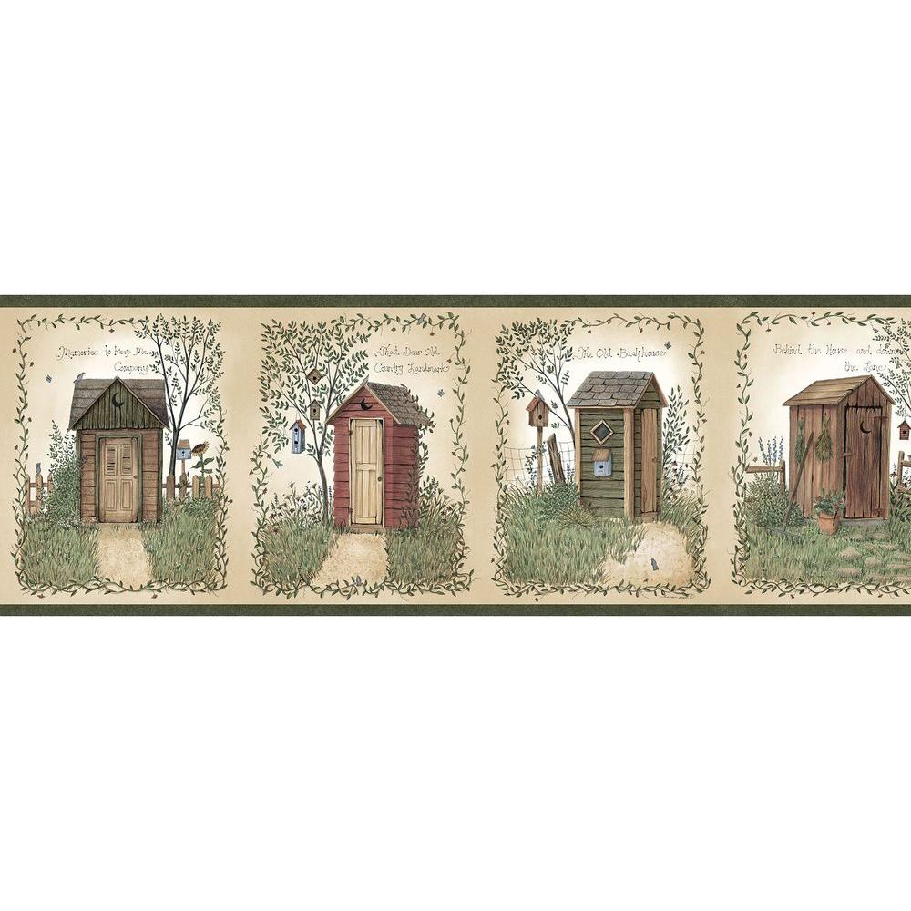 Chesapeake Fisher Country Outhouses Wallpaper Border, Green