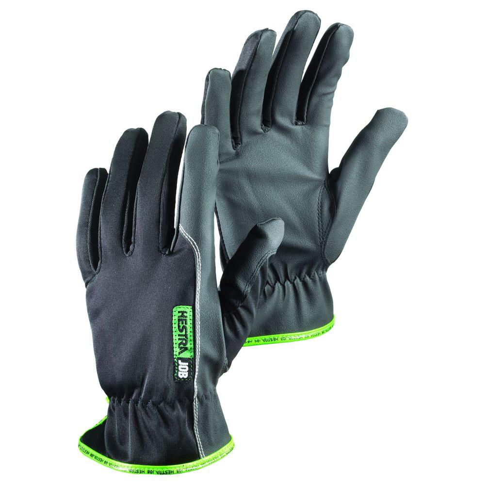 Hestra JOB Natron Size 9 Large RX-7 PU Palm/Fingers with Reinforced Stitching Stretch Nylon Glove in Black