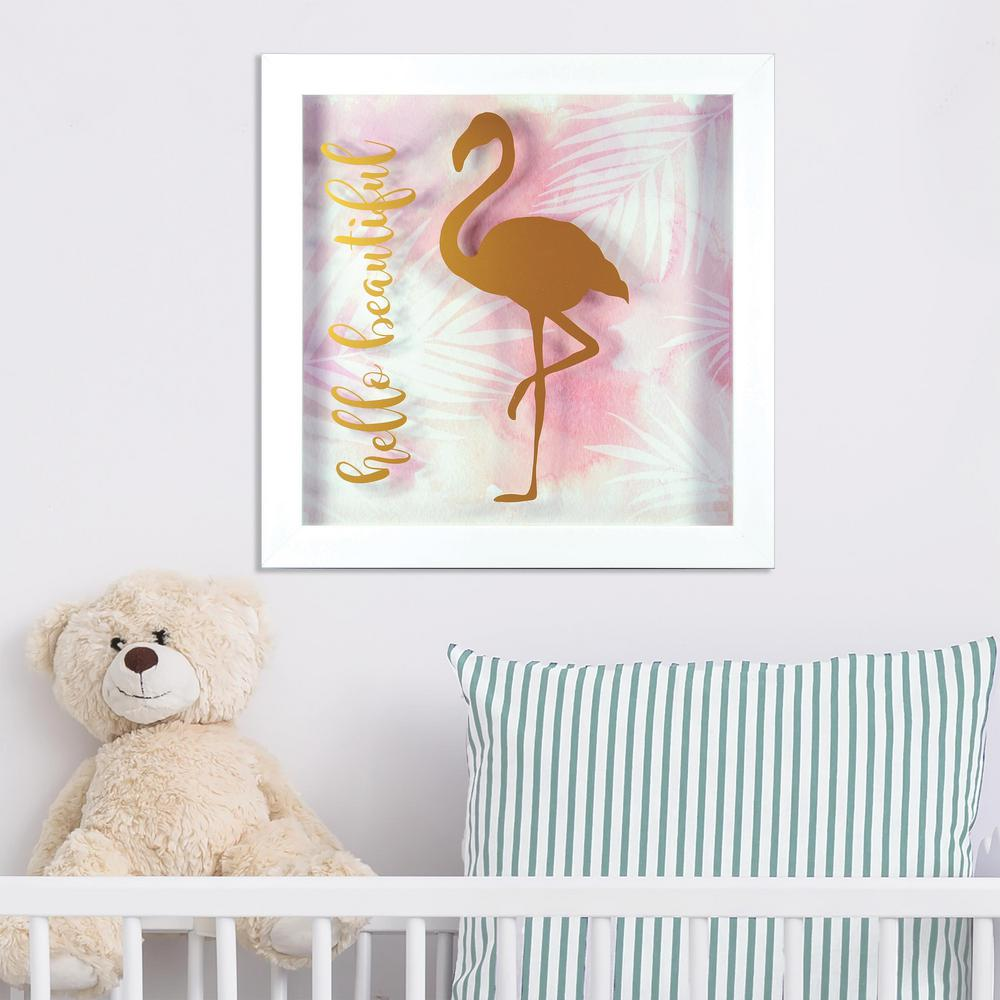 12 in. x 12 in. Hello Beautiful 1-Piece Shadowbox with Metallic
