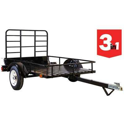4 ft. x 6 ft. 1,295 lbs. Payload Capacity Open Rail Steel Utility Flatbed Trailer