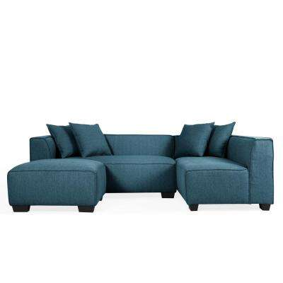 Phoenix Caribbean Blue Linen Sectional Sofa with Ottoman