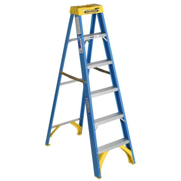 6 ft. Fiberglass Step Ladder (10 ft. Reach Height), 250 lbs. Load Capacity Type I Duty Rating
