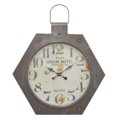 Brown Metal Frame Wall Clock