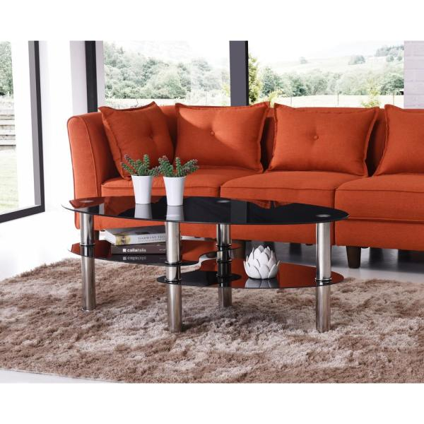HODEDAH Oval Tempered Glass 3-Tier Coffee Table with Chrome Plated Legs