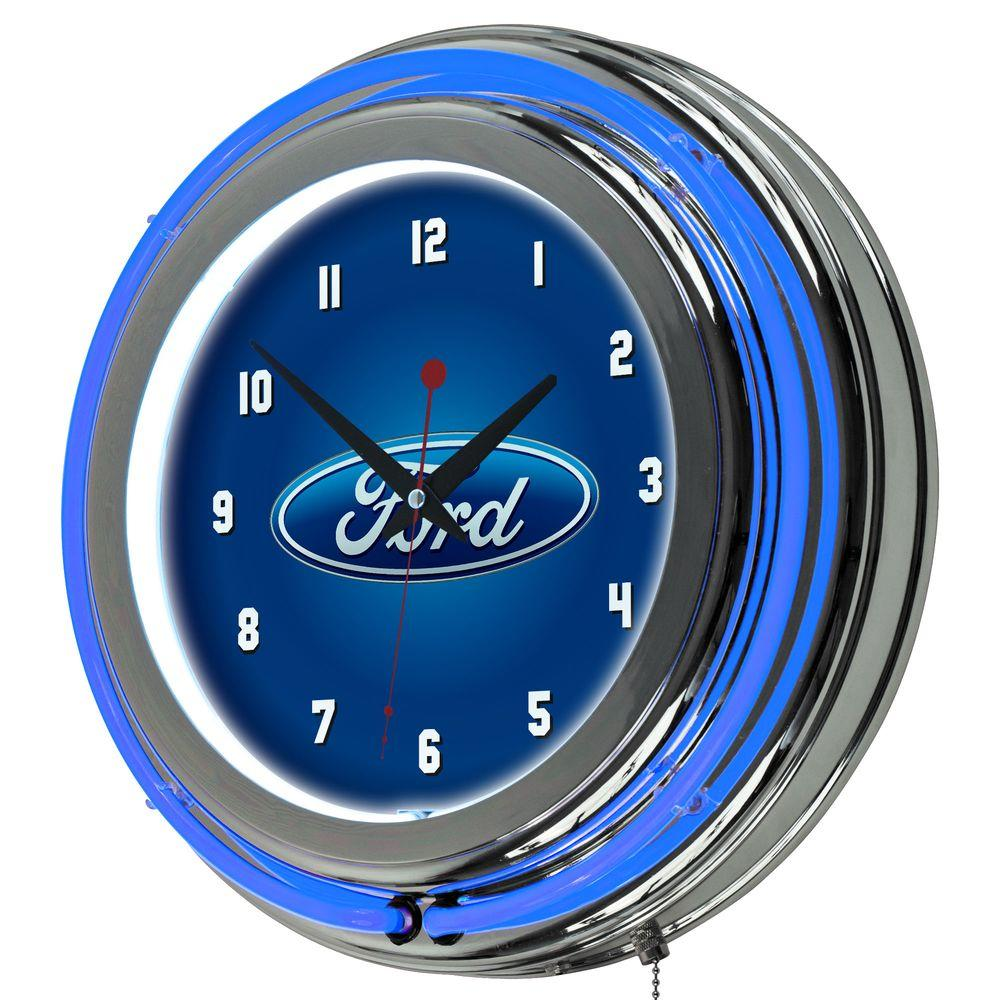 Ford 3 in x 14 in oval chrome double rung neon wall clock fd1400 oval chrome double rung neon wall clock amipublicfo Image collections