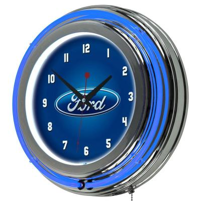 3 in. x 14 in. Oval Chrome Double Rung Neon Wall Clock