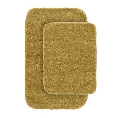 Traditional Linen 21 in. x 34 in. Washable Bathroom 2 -Piece Rug Set