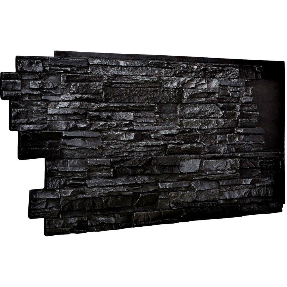 Ekena Millwork 1-1/2 in. x 48 in. x 25 in. Graphite Urethane Stacked Stone Wall Panel