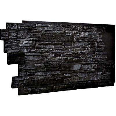 1-1/2 in. x 48 in. x 25 in. Graphite Urethane Stacked Stone Wall Panel