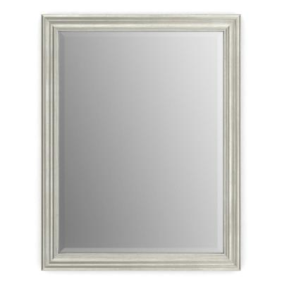 23 in. W x 33 in. H (S2) Framed Rectangular Deluxe Glass Bathroom Vanity Mirror in Vintage Nickel