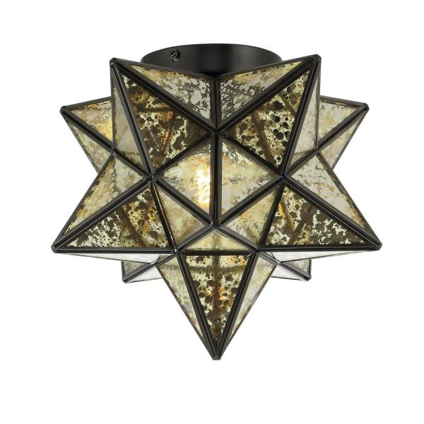 Stella 12 in. Oil Rubbed Bronze/Gold Metal/Mercury Glass Moravian Star LED Flush Mount