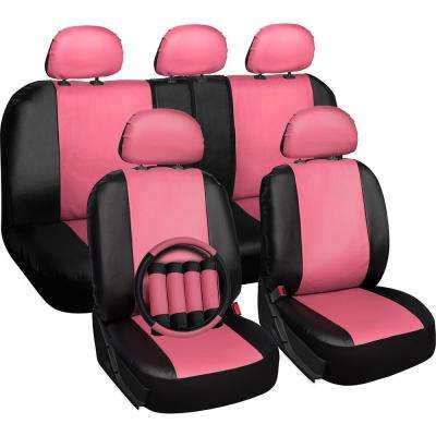Polyurethane Seat Covers 21.5 in. L x 21 in. W x 31 in. H Seat Cover Set Pink and Black (17-Piece)