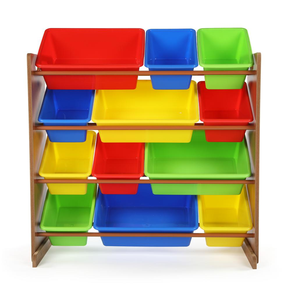 Highlight Dark Pine and Primary Toy Storage Organizer with 12-Plastic Bins