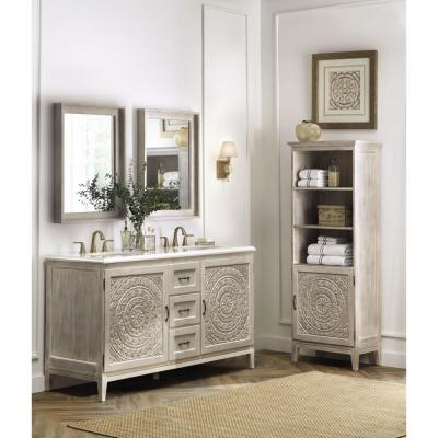 Chennai 61 in. W Double Vanity in White Wash with Engineered Stone Vanity Top in Crystal White with White Sinks