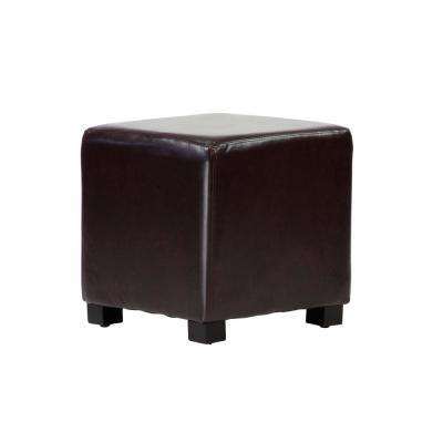 Tyler Chocolate Faux Leather Ottoman Cube