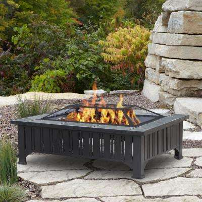 Evans 44 in. x 13 in. Rectangle Steel Wood-Burning Fire Pit in Black with Gray Tile Top