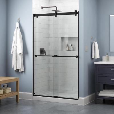Everly 48 in. x 71 in. Contemporary Sliding Frameless Shower Door in Matte Black with Clear Glass