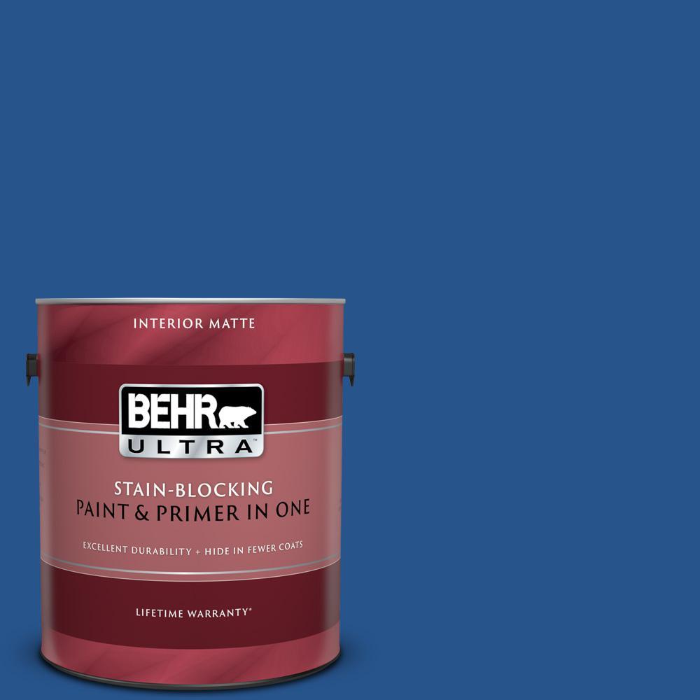 1 gal. #PPU15-03 Dark Cobalt Blue Matte Interior Paint and Primer in One