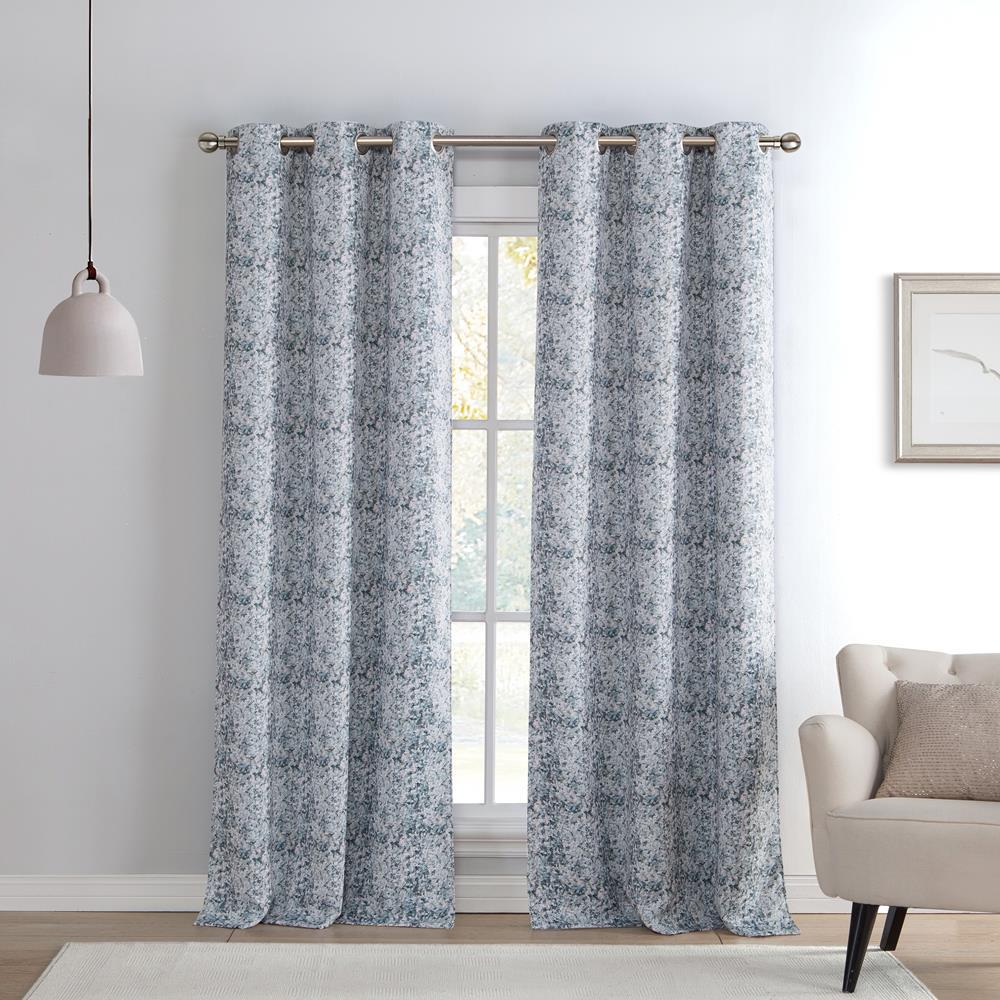 Duck River Mae 38 in. x 96 in. L Polyester Blackout Curtain Panel in Silver (2-Pack)