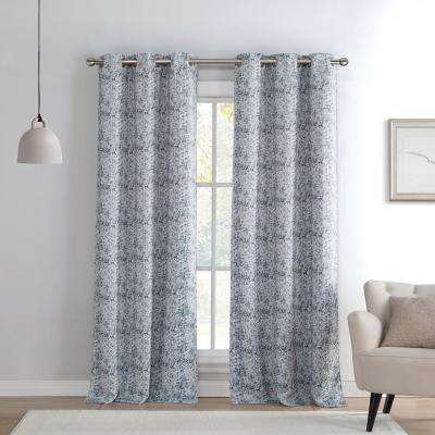Mae 38 in. x 96 in. L Polyester Blackout Curtain Panel in Silver (2-Pack)