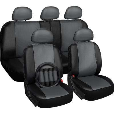 Polyurethane Seat Covers 21.5 in. L x 21 in. W x 31 in. H Seat Cover Set Gray and Black (17-Piece)