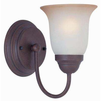 1-Light Nutmeg Sconce with Frosted Glass Shade
