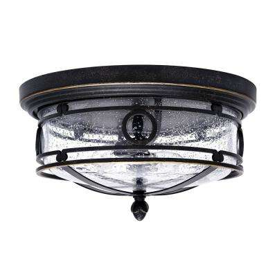13 in. 2-Light Bronze Flushmount with Seeded Glass Shade