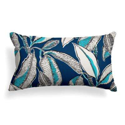 Panama Navy Rectangular Lumbar Outdoor Throw Pillow
