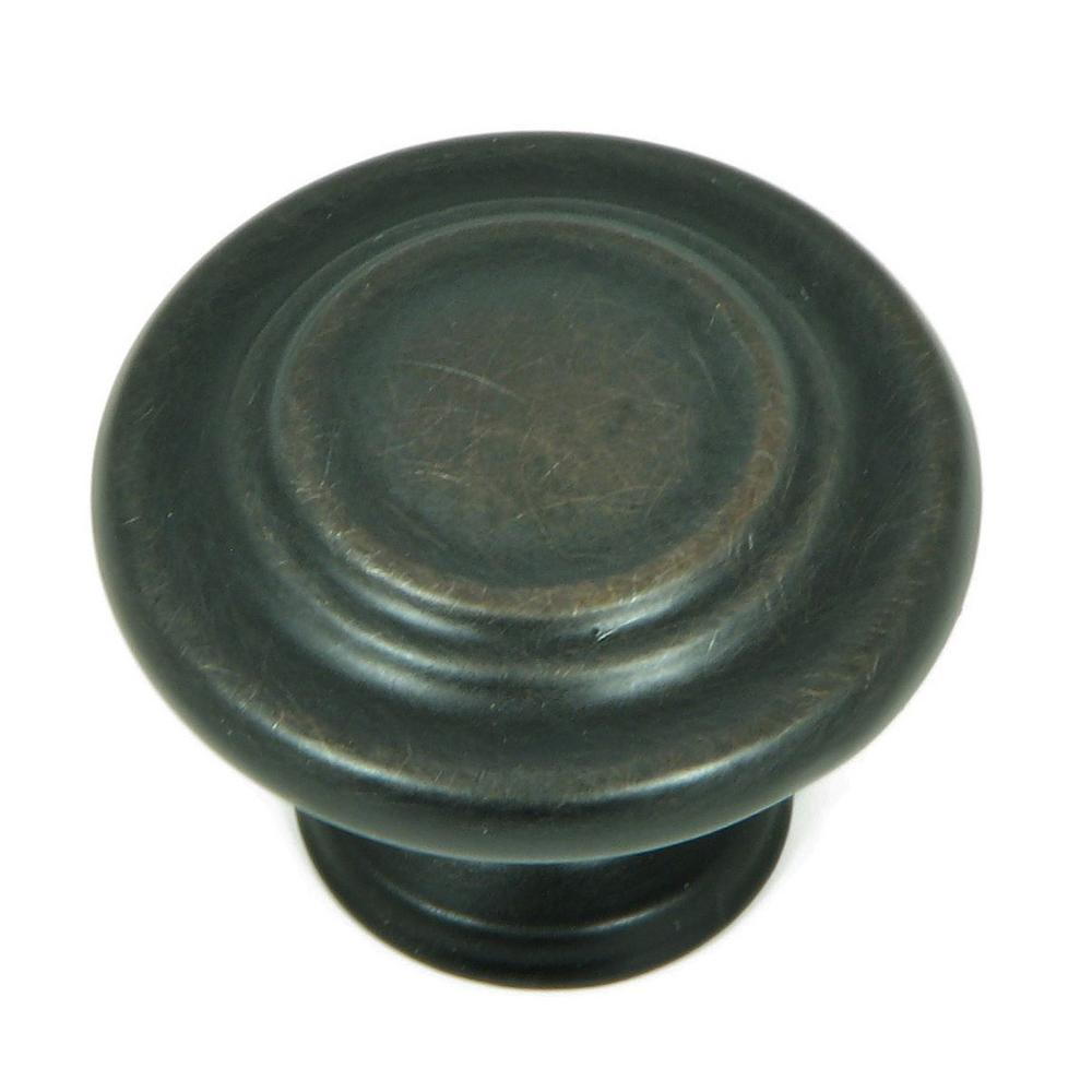 1-1/4 in. Oil Rubbed Bronze Three Ring Round Cabinet Knob (10-Pack)