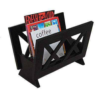 Contemporary Style Magazine Rack in Dark Mahogany