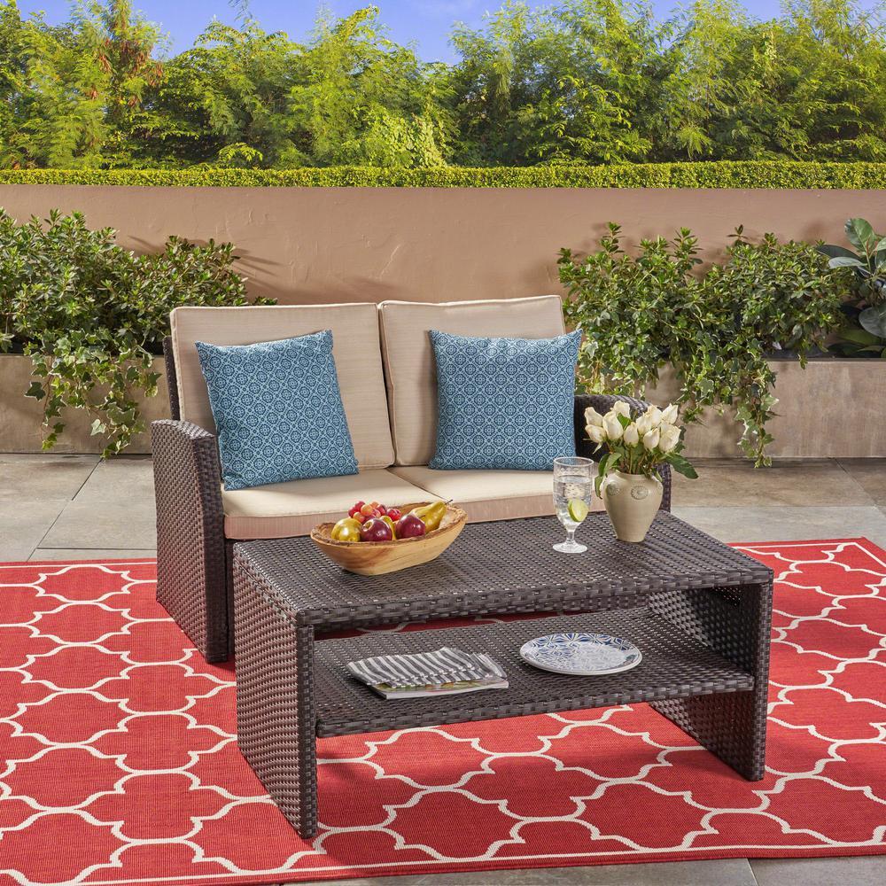 Sanger Dark Brown 2-Piece Wicker Patio Conversation Set with Beige Cushions