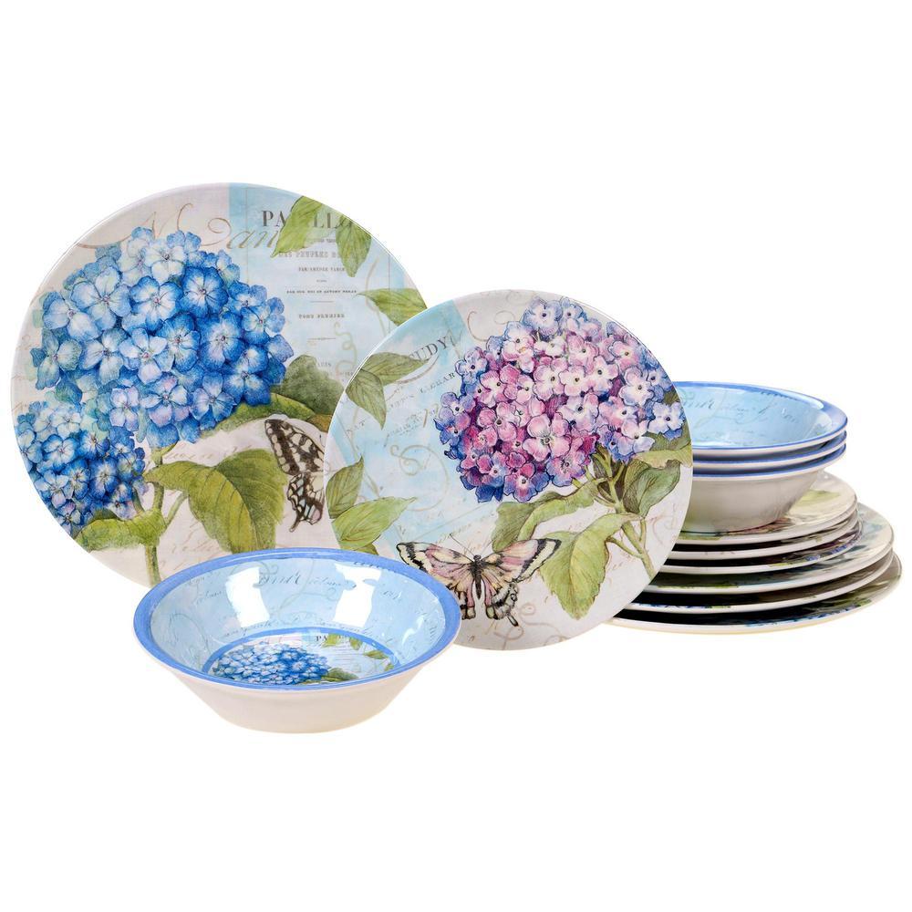 Hydrangea Garden 12-Piece Traditional Multi-colored Melamine Outdoor Dinnerware Set (Service for 4)