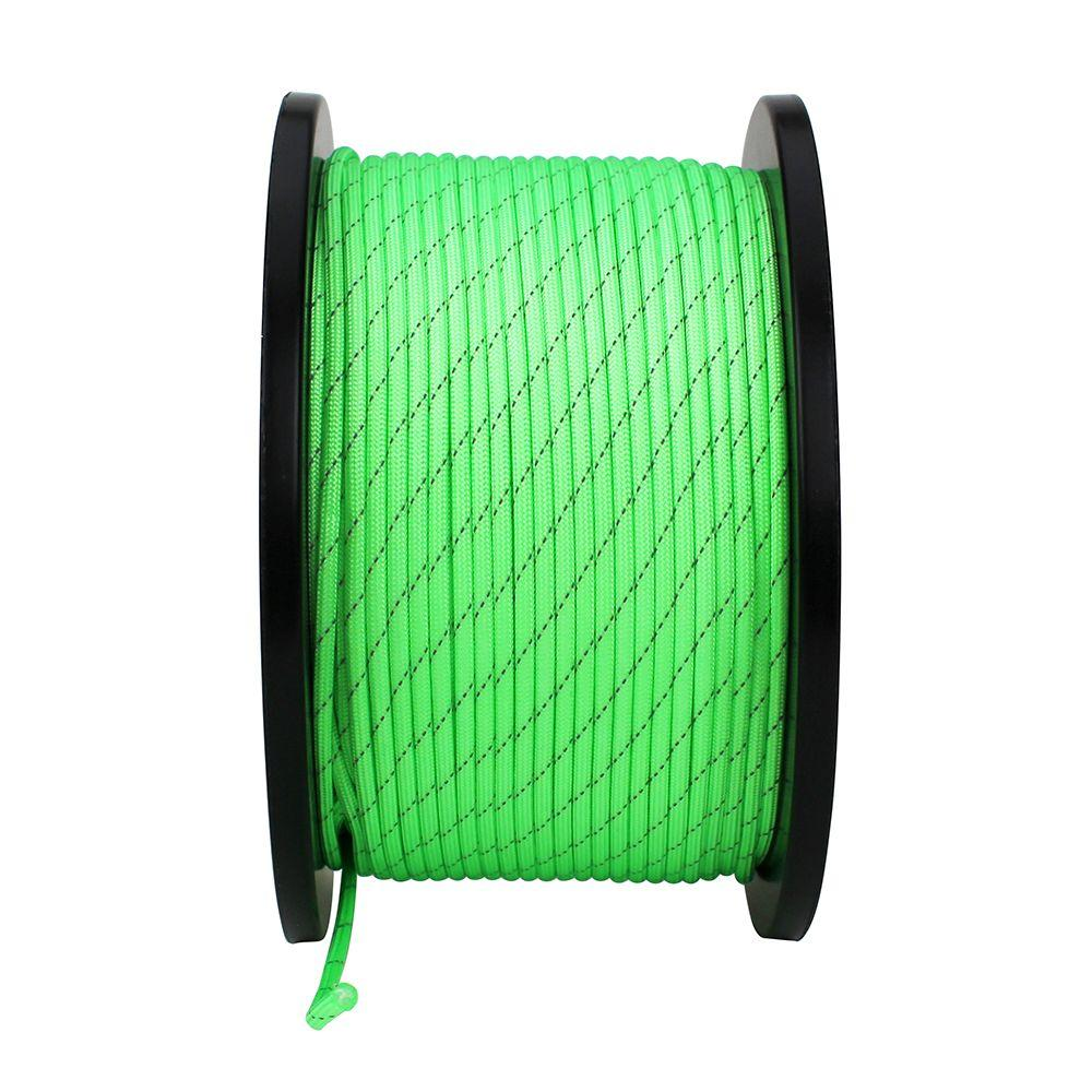 1/8 in. x 500 ft. Neon Green Reflective Paracord