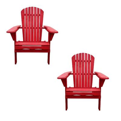 Classic Red Folding Wood Adirondack Chair (2-Pack)