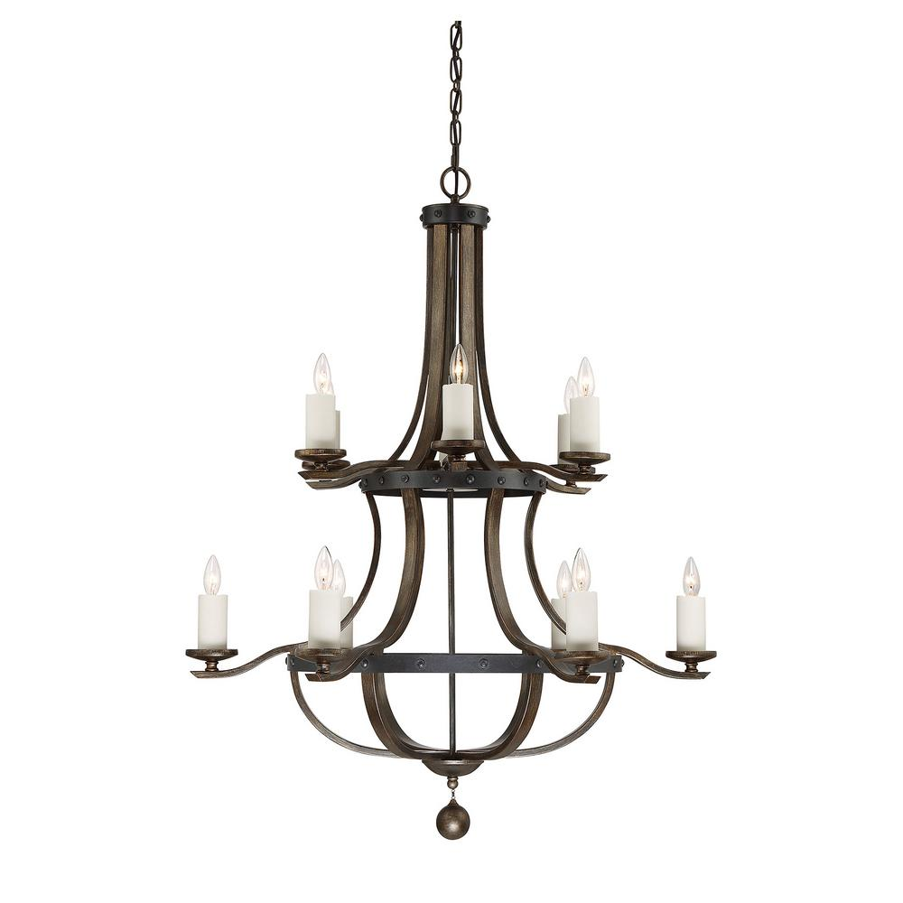 Illumine Satin 12 Light Ceiling Reclaimed Wood Incandecent Chandelier
