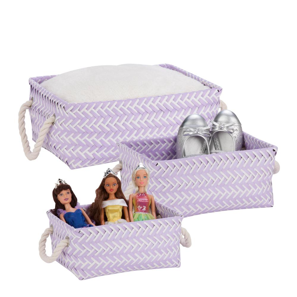 13 in. x 6 in. Lilac Nestable PP Weave Storage Baskets