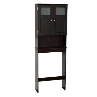 23-1/4 in. W x 66-1/2 in. H x 8-1/4 in. D 2-Door Over-the-Toilet Spacesaver Storage Cabinet with Glass Doors in Espresso