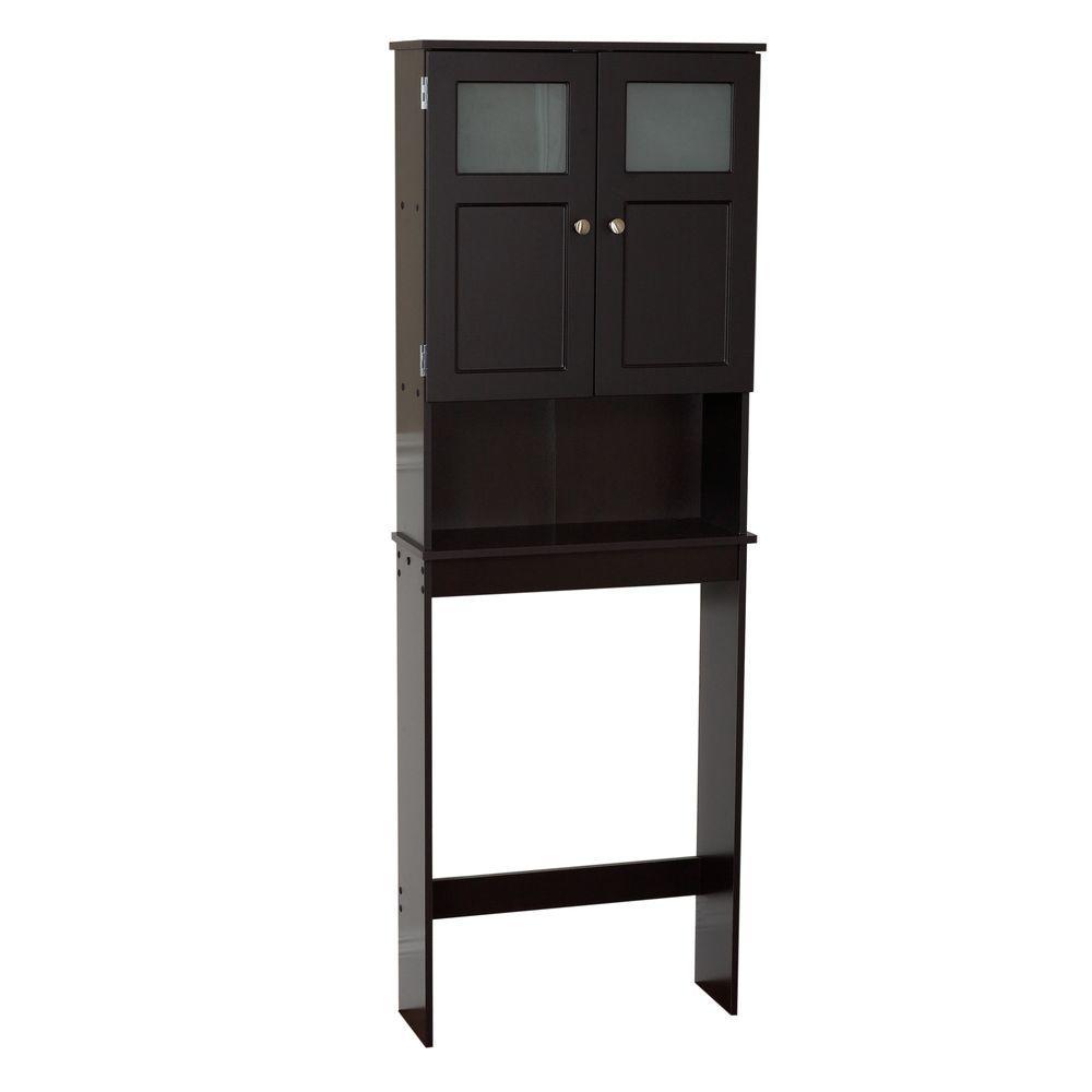 23-1/4 in. W x 66-1/2 in. H x 8-1/4 in. D 2-Door Over-the-Toilet Spacesaver Storage Cabinet with Glass Doors in Espresso