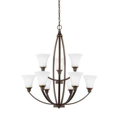 Metcalf 9-Light Autumn Bronze Chandelier with LED Bulbs