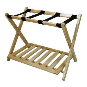 Deals on Casual Home Natural Solid Wood Luggage Rack with Shelf